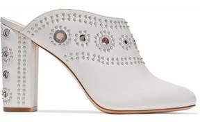 Rachel Zoe Ramona Eyelet-Embellished Studded Leather Mules