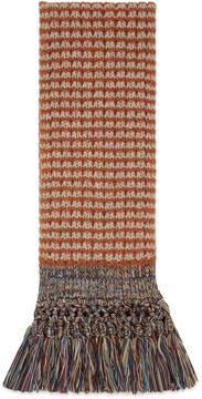 Wool scarf with multicolor fringe