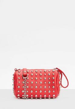 Red Studded Detail Wristlet Clutch Bag