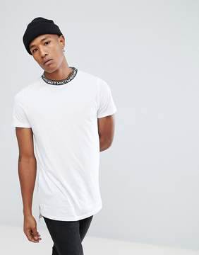 New Look T-Shirt With Text Neck Trim In White
