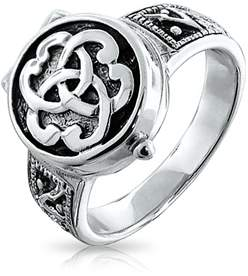 Celtic Bling Jewelry Triquetra Knot Cremation Urn Locket Sterling Silver Ring.
