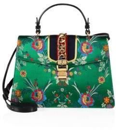 Gucci Sylvie Brocade Top-Handle Bag - GREEN-MULTI - STYLE
