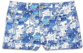 Vineyard Vines Girls' Bermuda Scene Print Denim Shorts - Little Kid