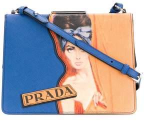 Prada woman print shoulder bag