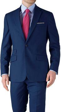 Charles Tyrwhitt Blue Slim Fit Basketweave Business Suit Wool Jacket Size 36
