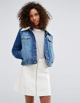 Brave Soul 'Faux Shearling Collar Denim Jacket