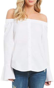 Sanctuary Abby Off the Shoulder Bell Sleeve Woven Top