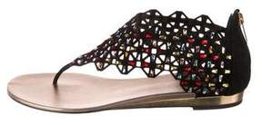 Rene Caovilla Embellished Suede Sandals w/ Tags