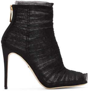Dolce & Gabbana Black Ruched Tulle Boots