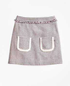 Brooks Brothers Cotton Blend Houndstooth Tweed Skirt