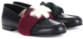 Fendi Fur-embellished leather loafers