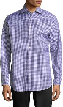 Luciano Barbera Men's Checkered Buttons Sportshirt