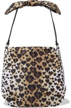 RED Valentino Bow-Embellished Leather-Trimmed Leopard-Print Faille Shoulder Bag