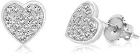 Swarovski Chanteur Jewelry 18K White Gold Plated Sterling Silver Pave Crystal Accent Heart Stud Earrings