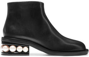 Nicholas Kirkwood Casati Faux Pearl-embellished Leather Boots - Black