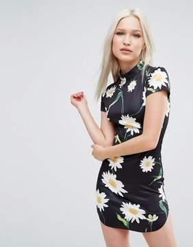 AX Paris Daisy Print Cap Sleeve Dress