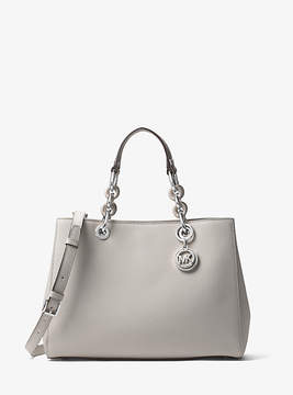 Michael Kors Cynthia Medium Saffiano Leather Satchel - GREY - STYLE