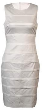 Calvin Klein Women's Pintucked Sleeveless Cotton Sheath Dress (2, White)