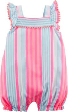 Carter's Baby Girls Striped Pom Pom Romper