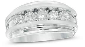 Zales Men's 1-1/2 CT. T.W. Diamond Five Stone Wedding Band in 14K White Gold
