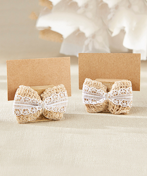 Burlap Bow Place Card Holder - Set of 12