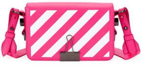Off-White Diagonal Stripe Mini Flap Clutch Bag with Binder Clip