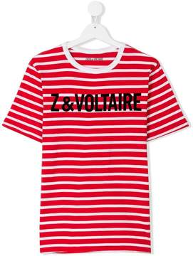 Zadig & Voltaire Kids Teen branded striped T-shirt