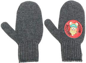 Moschino teddy plaque mittens