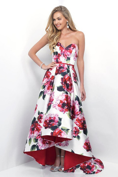 Blush Lingerie Sweetheart Floral Print High-Low Gown 11286