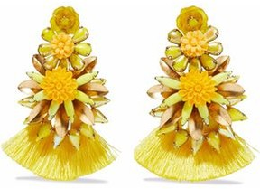 Elizabeth Cole Gold-Plated Crystal Resin And Tassel Earrings