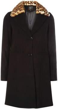Dorothy Perkins Black Faux Fur Collar Coat