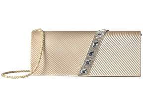 Jessica McClintock Nancy Satin Pleated Clutch with Rhinestones Clutch Handbags