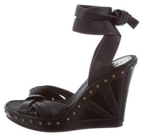 Fendi Leather Wedge Sandals