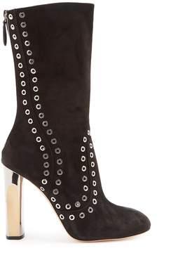 Alexander McQueen Eyelet-embellished block-heel suede ankle boots