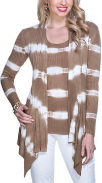 Belldini Iced Latte Stripe Open Cardigan & Two-Way Tank - Women