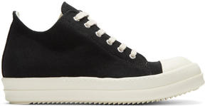Rick Owens Black Canvas Low Sneakers