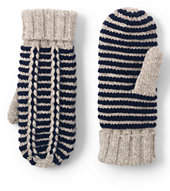 Lands' End Women's Nautical Stripe Mittens-Espresso