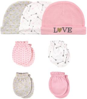 Hudson Baby Pink 'Love' Beanie & Scratch Mitten Set