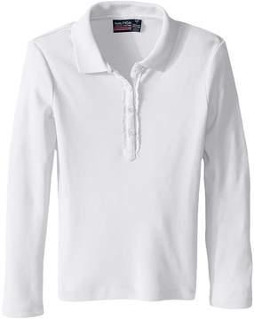 Nautica Long Sleeve Polo with Ruffle Placket Girl's Long Sleeve Pullover