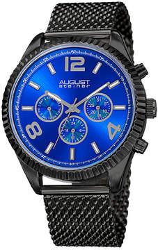 August Steiner Mens Black Strap Watch-As-8196bkbu