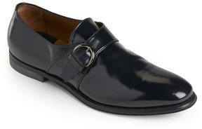 Silvano Sassetti Blue Spazzolato Leather Monk Strap Shoes