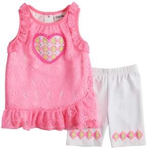 Little Lass Toddler Girls Heart Tank Top & Bike Shorts Set