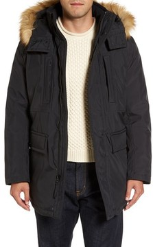 Andrew Marc Men's Down Jacket With Faux Fur Trim