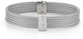 Alor 18K White Gold and Stainless Steel Grey Cable 0.41ct Diamond Bangle