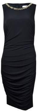 Calvin Klein Women's Sleeveless Embellished Ruched Jersey Dress