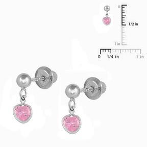 Ice Sterling Silver 4mm Ball Drop Pink CZ Heart Screw Back Girls' Earrings