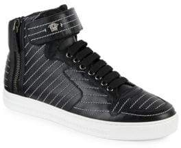 Versace Contrast Stitch Leather High-Top Sneakers