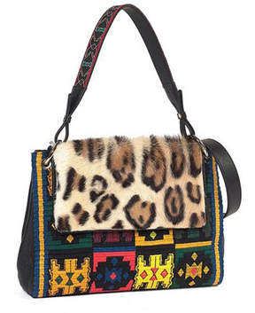 Etro Leopard-Print Fur-Flap Embroidered Shoulder Bag