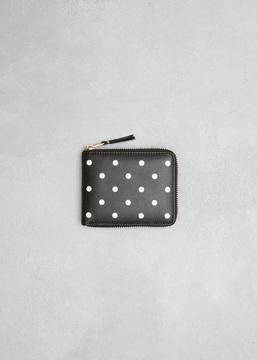 Comme des Garcons WALLET black dots printed leather line zip wallet