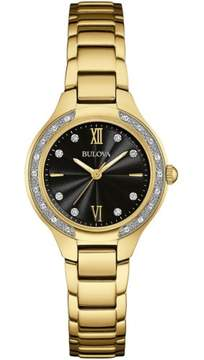 Bulova Ladies Gold Tone Stainless Steel and Diamond Watch with a Scratch Resistant Sapphire Glass